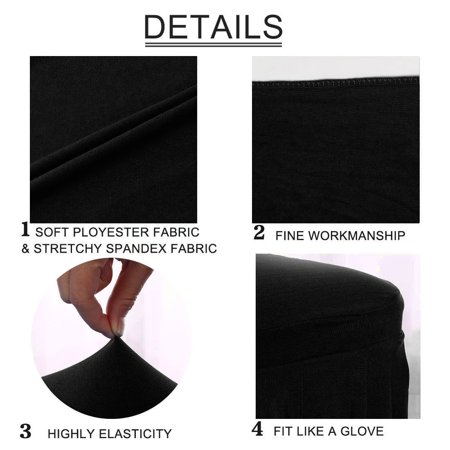Spandex Stretch Washable Kitchen Stool Chair Cover Protector Slipcovers Black - image 6 of 7