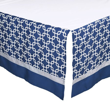Navy Blue Geometric Print Tailored Crib Dust Ruffle by, This tailored crib dust ruffle from The Peanut Shell features a contemporary geometric print in navy and.., By The Peanut Shell Ship from US