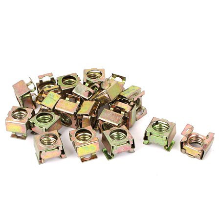 20 Pcs M12 x 1.75mm Pitch Yellow Zinc Plated Square Cage Nuts for Computer Case