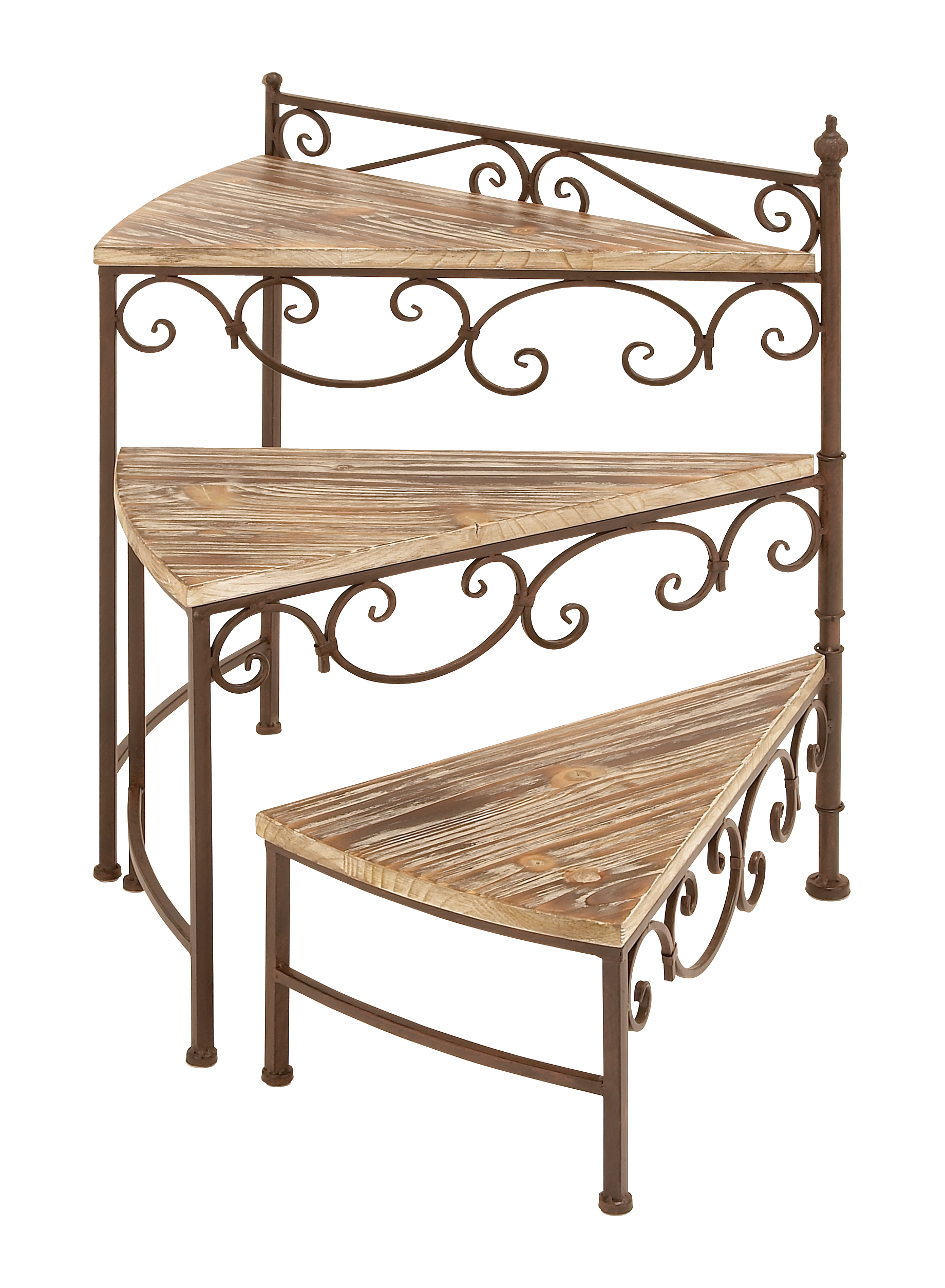 Decmode Traditional Scrolled Iron and Fir Wood Three-Tiered Plant Stand, Brown by DecMode