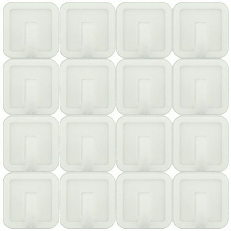 Wideskall® 16 Pcs White Self Adhesive Plastic Square Hook Small Wall Mount Hanger for Bathroom Towel and Robe