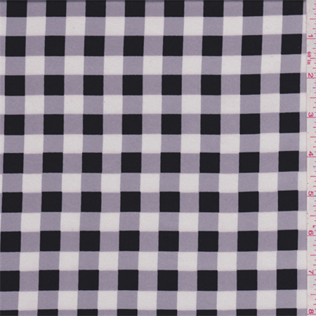 Black/Lilac Check Charmeuse, Fabric By the Yard