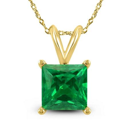 14K Yellow Gold 4MM Square Emerald Pendant
