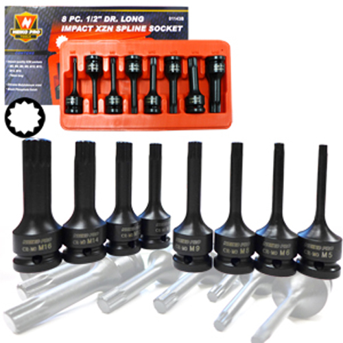 "8 Piece Pro 1/2"" Dr Long Impact Xzn Spline Socket Tool Bit Set"