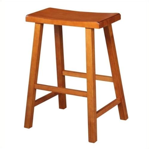 "International Concepts Saddleback 23.75"" Counter Stool in Rustic Oak"