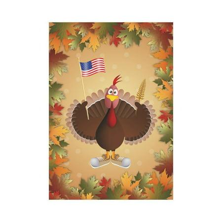 - MYPOP Thanksgiving Turkey with American Flag Garden Flag Outdoor Banner 28 x 40 inch
