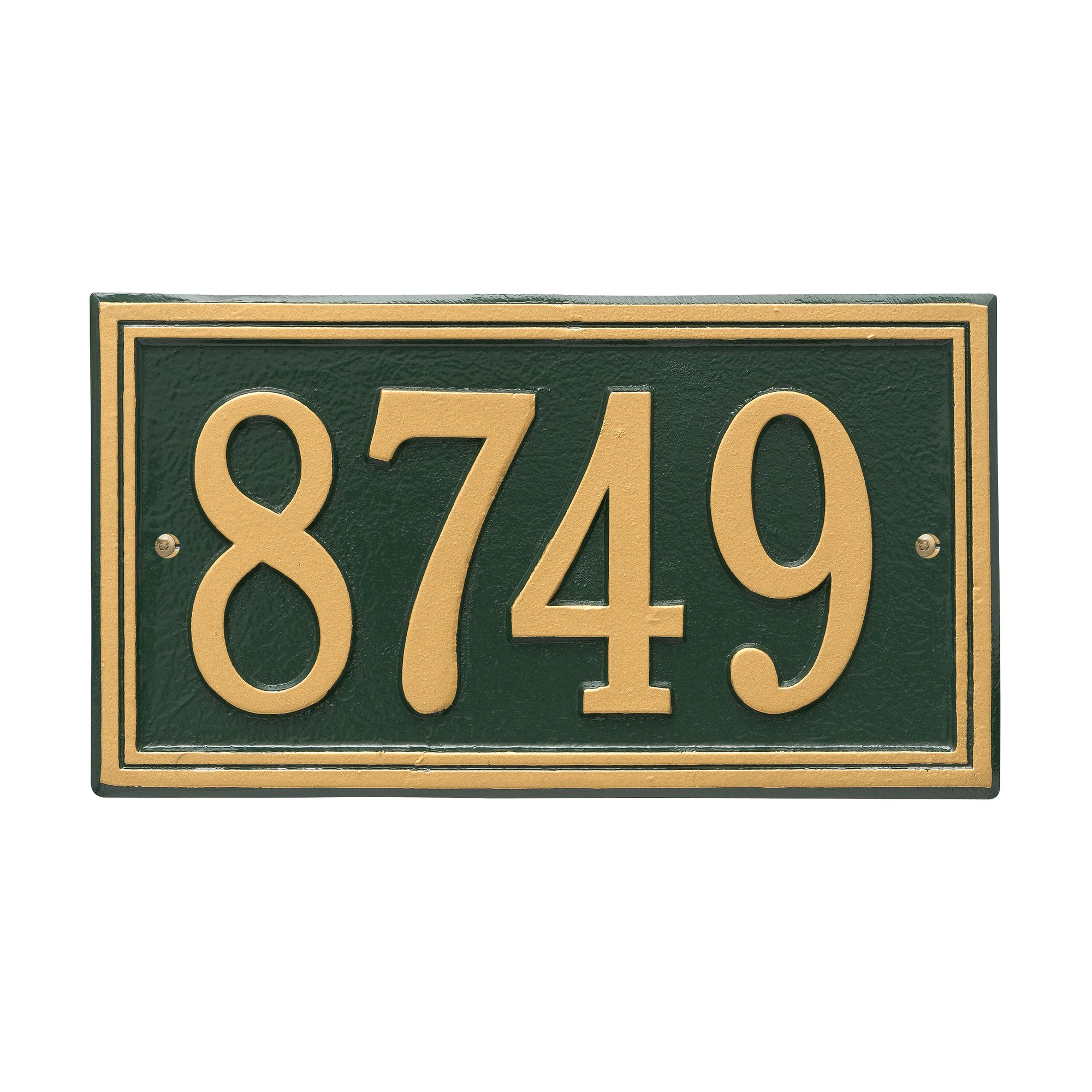 Personalized Whitehall Products Double Border1-Line House Numbers Plaque in Green/Gold