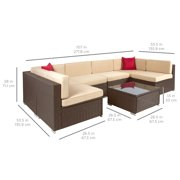 Best Choice Products 7pc Outdoor Patio Garden Furniture Wicker Rattan Sofa Set Sectional Brown Image 3