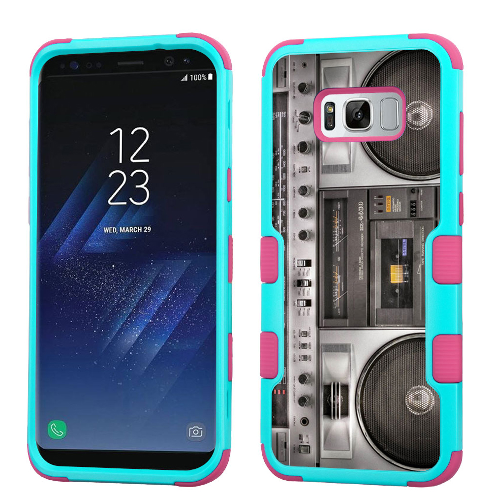 Hybrid Case for Samsung Galaxy S8 PLUS / S8+, OneToughShield ® 3-Layer Shock Absorbing Phone Case (Teal/Pink) - Boombox