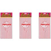 Striped Paper Popcorn Party Bags, 10 x 5.25in, Red & White, 10ct