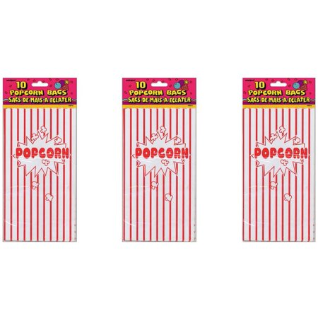 (3 Pack) Striped Paper Popcorn Party Bags, 10 x 5.25 in, Red & White, 10ct - Personalized Party Bags