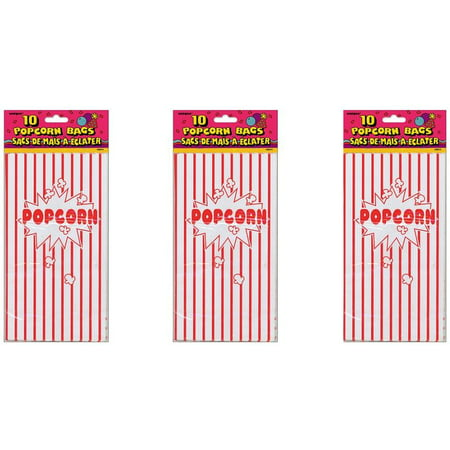 (3 Pack) Striped Paper Popcorn Party Bags, 10 x 5.25 in, Red & White, - The Popcorn Bag