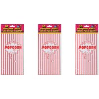 (3 Pack) Striped Paper Popcorn Party Bags, 10 x 5.25 in, Red & White, 10ct