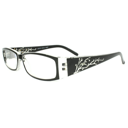 Rectangle Fashion Reading Glass Black Frame with Power vision + 2.00 for Women and (Rectangle Frame Glasses)