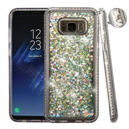 Samsung Galaxy S8 Case, by Valor Diamante Frame Quicksand (Hearts) Glitter Hybrid Hard Case For Samsung Galaxy S8 - Silver
