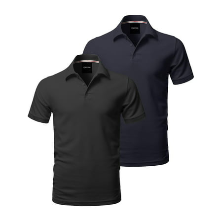 - FashionOutfit Men's Solid Short Sleeves Basic Side Slit Polo Shirt