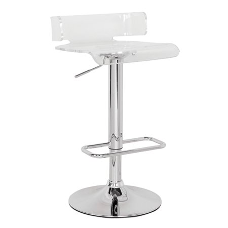 Adjustable Stool with Swivel, Clear & Chrome - ABS (Acrylic Resin), Meta Clear & -
