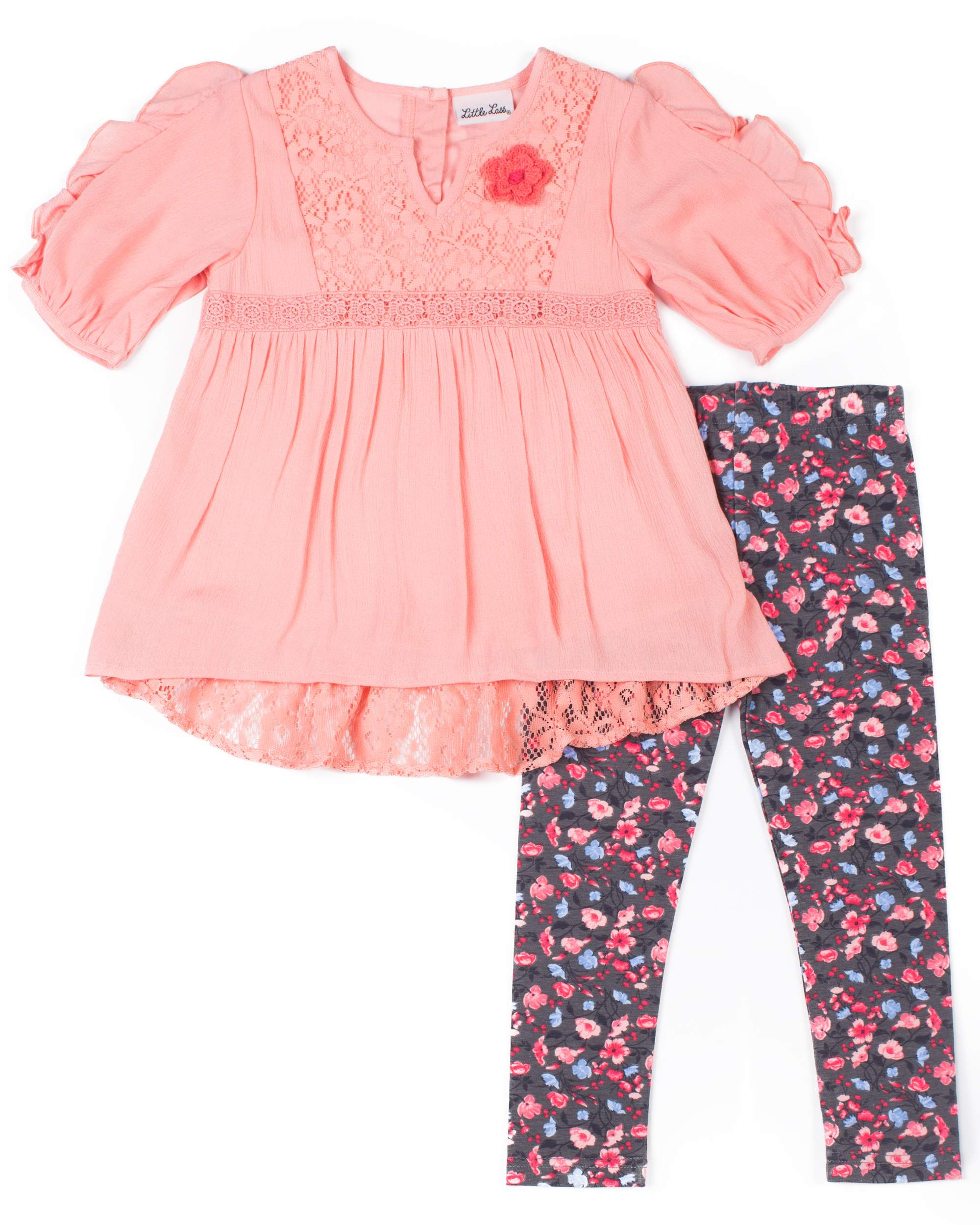 Chiffon Lace Detail Blouse & Floral Leggings, 2-Piece Outfit Set (Toddler Girls)