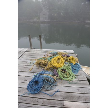 Dock, Lobster Trap Roping, and Boathouse in Fog, New Harbor, Maine, USA Print Wall Art By Lynn M.