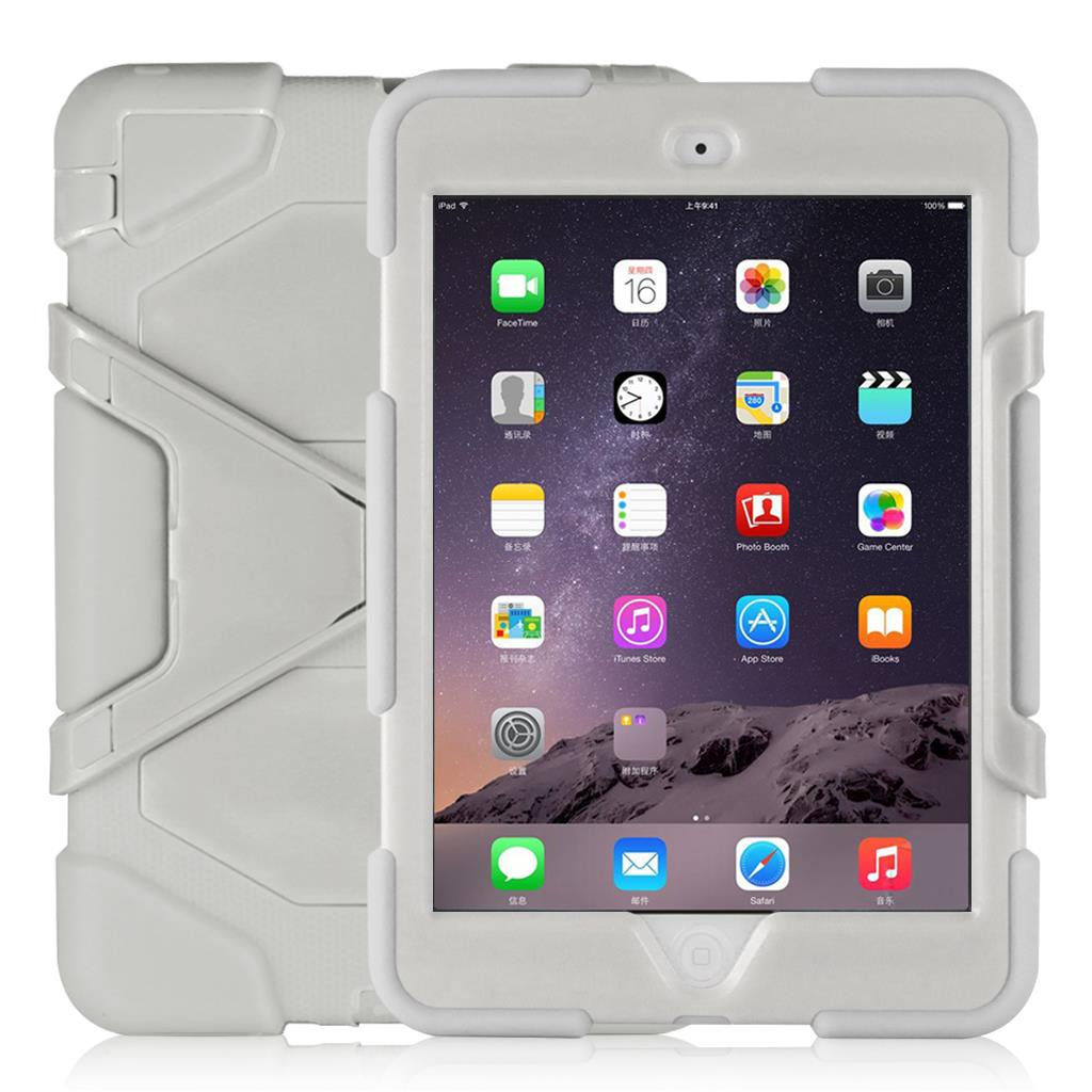 """Shockproof Case Cover For iPad mini 1/2/3 (Come with screen film and stand,7.9""""device )RED"""