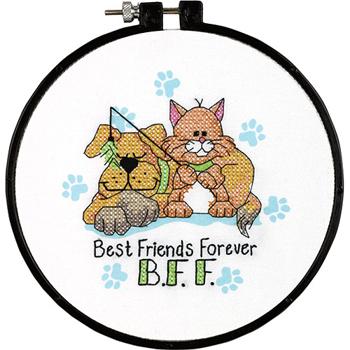 "Dimensions Learn-A-Craft ""Best Friends Forever"" Stamped Cross Stitch Kit, 6"""
