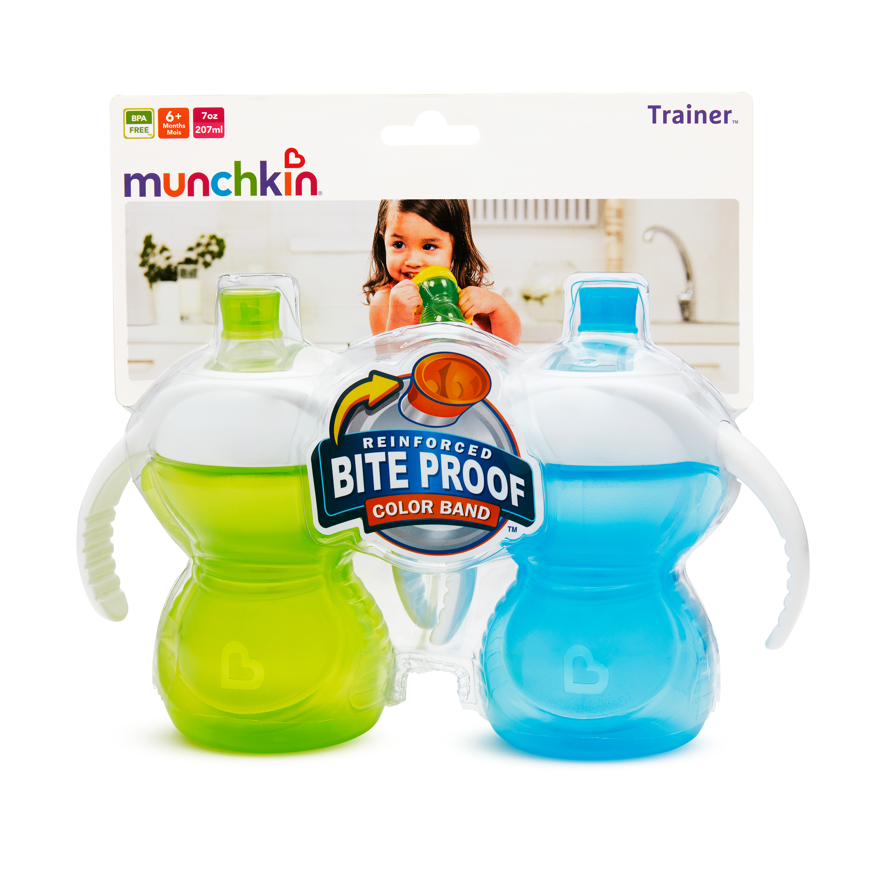 Munchkin Reinforced Bite Proof Color Band Trainer Cups 9+ Months - 2 CT