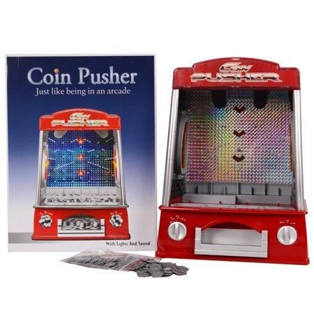 Mini Coin Pusher Arcade Game Machine , Lights and Sounds,150 Play Coins Games Mini Button