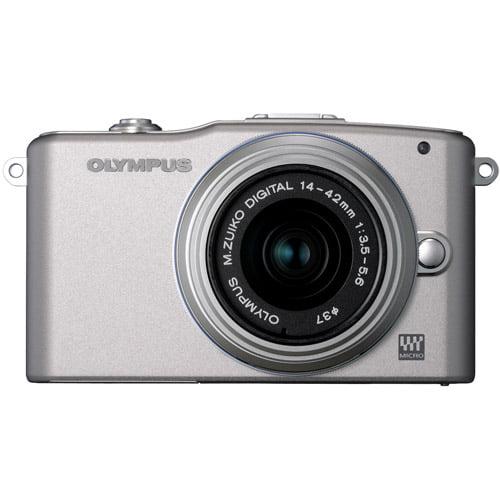 "Olympus PEN E-PM1 Silver 12.3MP Digital Camera, Silver 4-42mm Lens, 3"" LCD Display, HD Video, 3D Photos"