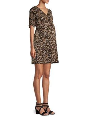Maternity Ma Cherie Daytime Leopard Print Wrap Dress