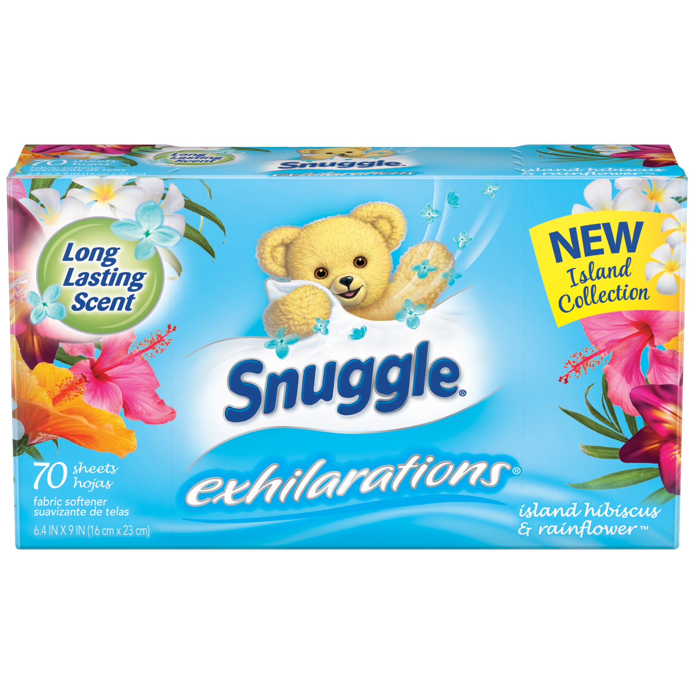 Snuggle Exhilarations Island Hibiscus & Rainflower Fabric Softener Sheets, 70 count