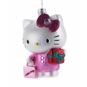 Glass Hello Kitty Christmas Ornament