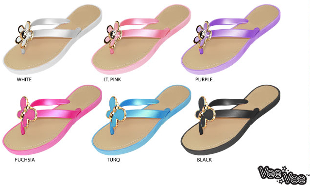 Girls Ornaments Puce Sandals with Assorted Ornaments Girls & Puce Footbed Case Pack 72 37028e