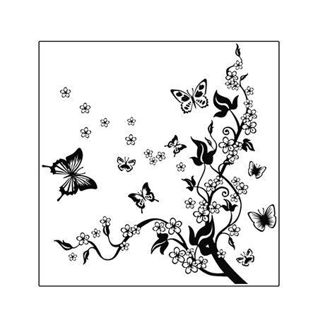 Living Room Art Decorative PVC Decal Art Mural Adhesive Wall Decoration Flowers Butterfly Pattern Black, 70 x 50cm