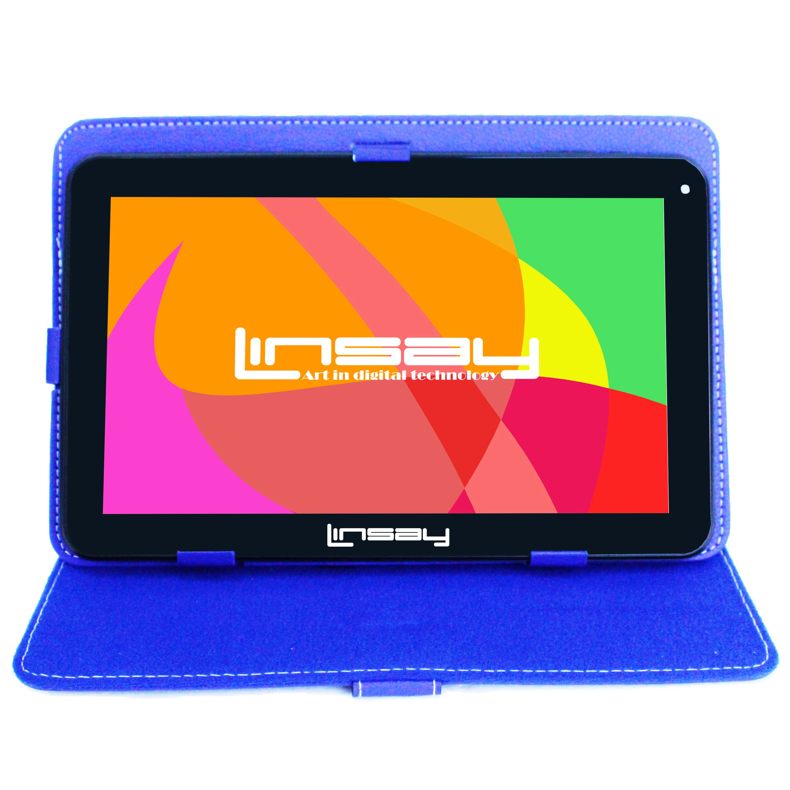 LINSAY 10.1 Touchscreen Quad Core Tablet PC Featuring Android 4.4 (KitKat) Operating System Bundle with Blue Case