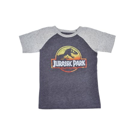 Boys Jurassic Park Logo T-Shirt - Short Sleeve Gray