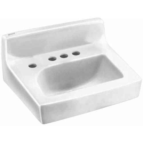 American Standard 0373.043.020 Penlyn Wall Mounted Lavatory Sink for Concealed Arms (not included) with Three Faucet Holes (4 Centers) and Extra Left-Hand Hole, White