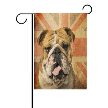 POPCreation Vintage English Bulldog Garden Flag Union Jack Outdoor Flag Home Party 28x40 inches