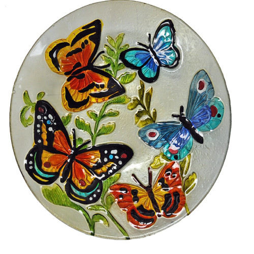 Continental Art Center Butterflies Glass Plate