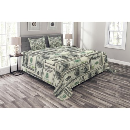 Money Bedspread Set, Dollar Bills of United States Federal Reserve with the Portrait of Ben Franklin, Decorative Quilted Coverlet Set with Pillow Shams Included, Pale Green Grey, by Ambesonne
