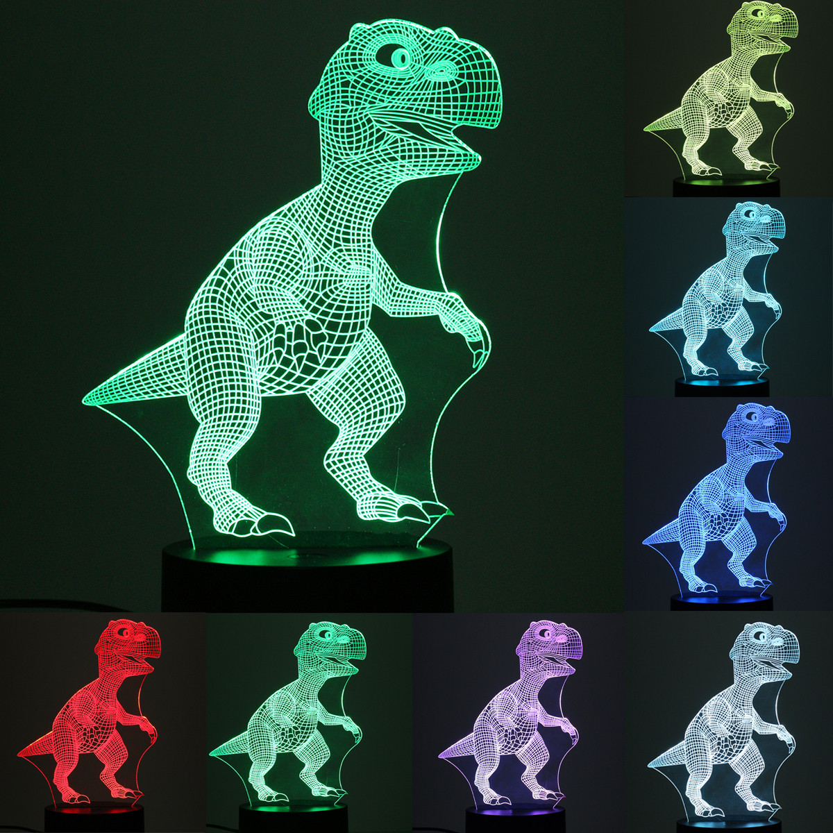USB 3D Dinosaur LED Lamp Touch Switch Desk Table Night Light 7 Color Change Birthday Valentine's Day Gift