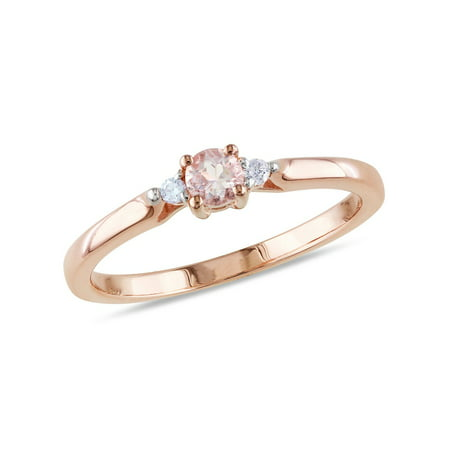 1/6 Carat (ctw) Morganite Ring in Rose Pink Sterling Silver with Accent Diamonds - image 3 de 3