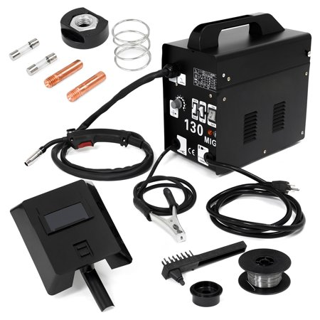 XtremepowerUS MIG-130 Welder Flux Core Wire Automatic Feed Welding Machine AC Core w/ Face Mask Welding Wire- (Best Budget Flux Core Welder)
