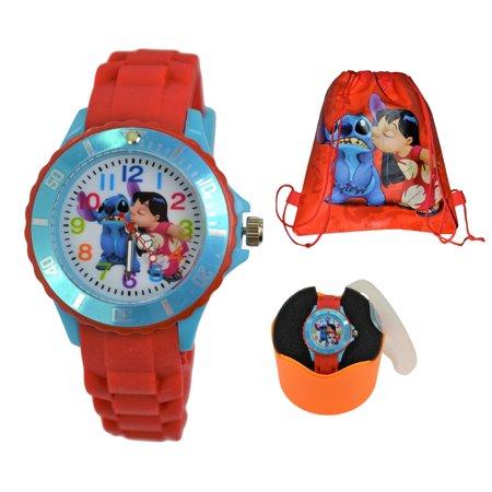 Disney Lilo & Stitch Gift Set Wrist Watch & Drawstring School/Shoes/Gym Bag for - Lilo And Stitch Birthday Supplies