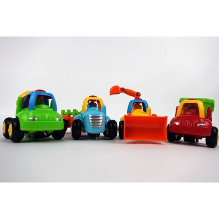 NBD Happy Singing Trucks - Friction Powered Cars Push and Go Toy Set of Four Vehicles 1 Tractor, 1 Bulldozer, 1 Cement Mixer Truck, 1 Dump Truck, for 1 2 3 Years Old Boys Toddlers Kids Gift - 1 Year Old Outdoor Toys