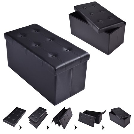 "Costway 30""x15""x15"" Large Folding Storage Faux Leather Ottoman Pouffe Box Stool (Black)"
