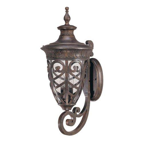 Nuvo Aston - 3 Light Large Wall Lantern Arm Up w/ Seeded Glass