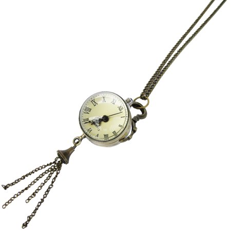 Vintage Antique Solid Brass Clock Pendant Long Chain Necklace Steampunk Jewelry - Flavor Flav Clock Necklace
