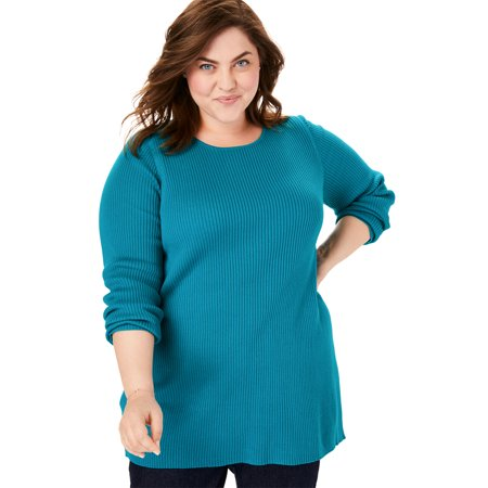 Woman Within Women's Plus Size Pullover Rib Knit Scoop Neck Sweater Rib Knit Boatneck Sweater