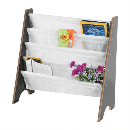 YOSOO Children Book Rack,Kids Book Rack Storage Sling Bookshelf Furniture Wooden+Polyester Bookcase Book Storage Display Rack Bookshelf With 4 Pockets ()