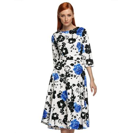 Stylish Women O-neck 3/4 Sleeve Full-Length Floral Dress